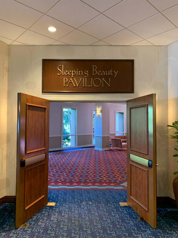 Sleeping Beauty Pavilion entrance with identifying sign