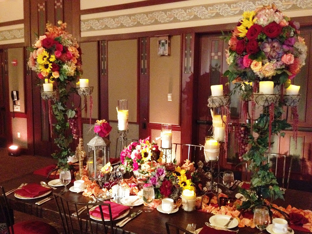 Close up of wedding reception table at Trillium Room at Disney's Grand Californian Hotel
