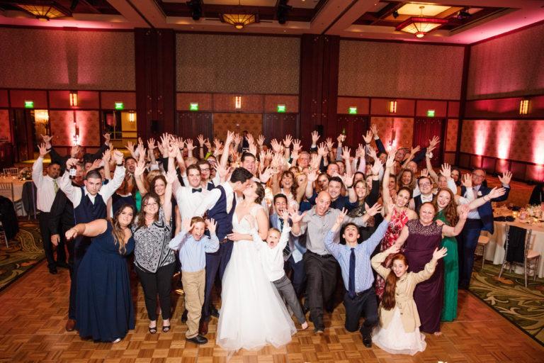 Group of wedding guests at Sequoia Ballroom at Disney's Grand Californian Hotel